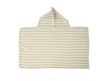 Quax mušelínová osuška s kapucňou Stripes šedá