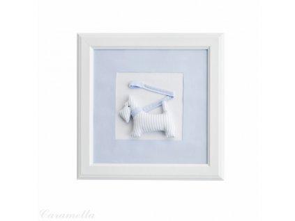 20420 caramella textilny detsky obraz psik s voditkom 30x30cm modry