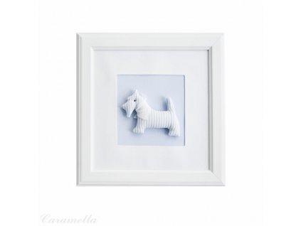 20423 caramella textilny detsky obraz psik so salom 30x30cm modry