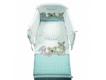 Italbaby Hello mantinel s posteľnou bielizňou modrý