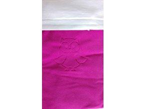 Deka Emitex bavlna+microfleece s výšivkou 70x100 cm - Fuchsie