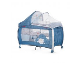 CHIPOLINO Cestovní postýlka Play pen and crib Casida - blue bear