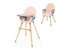 Dětská jídelní židlička ZOPA Dolce 2 2021 Blush pink Grey 2v1