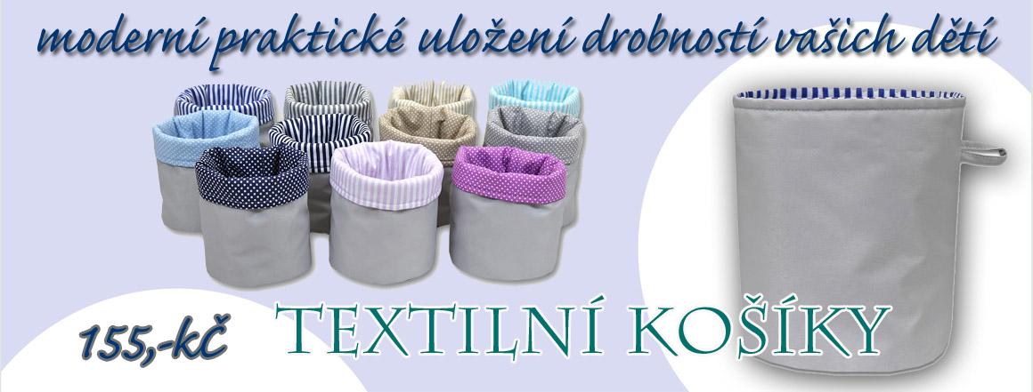 Moderní uložení drobností pro děti i dospělé v textilních boxech Babyrenka.