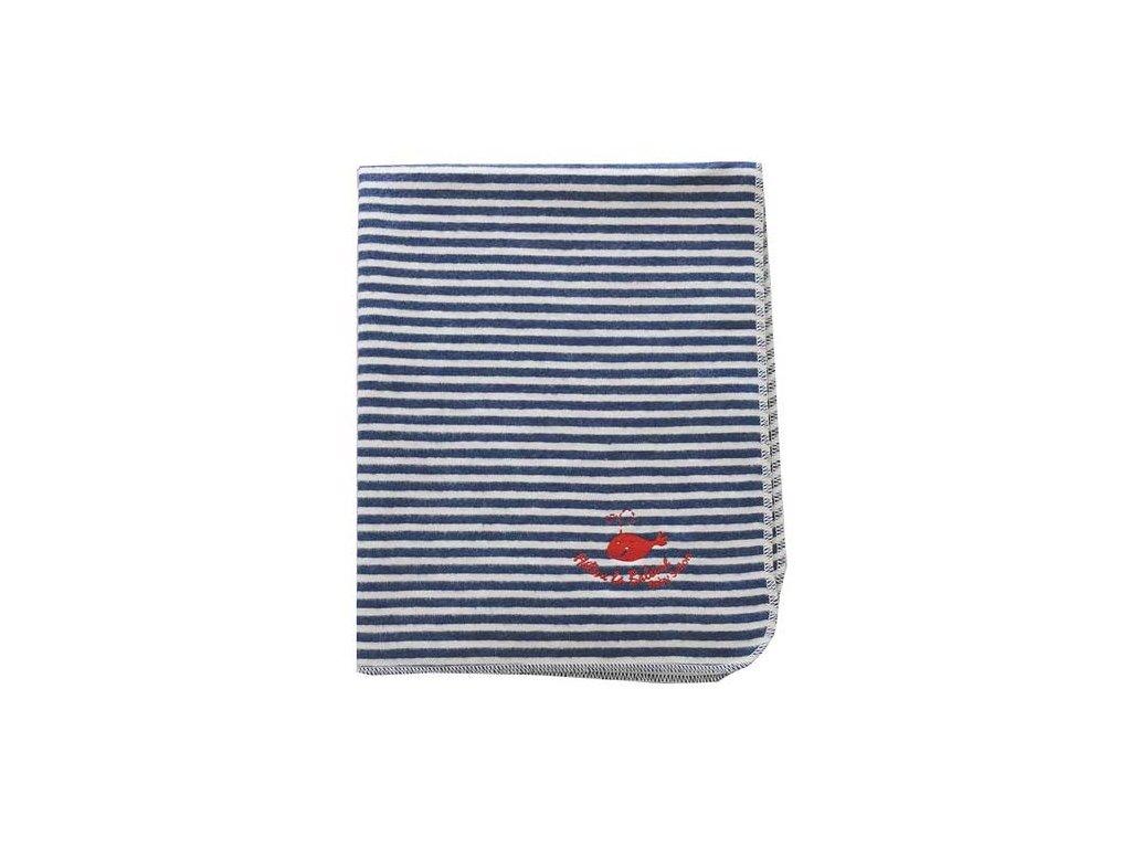 DF JUWEL bavlněná deka 70x90 vyšívka proužek modrá 10719