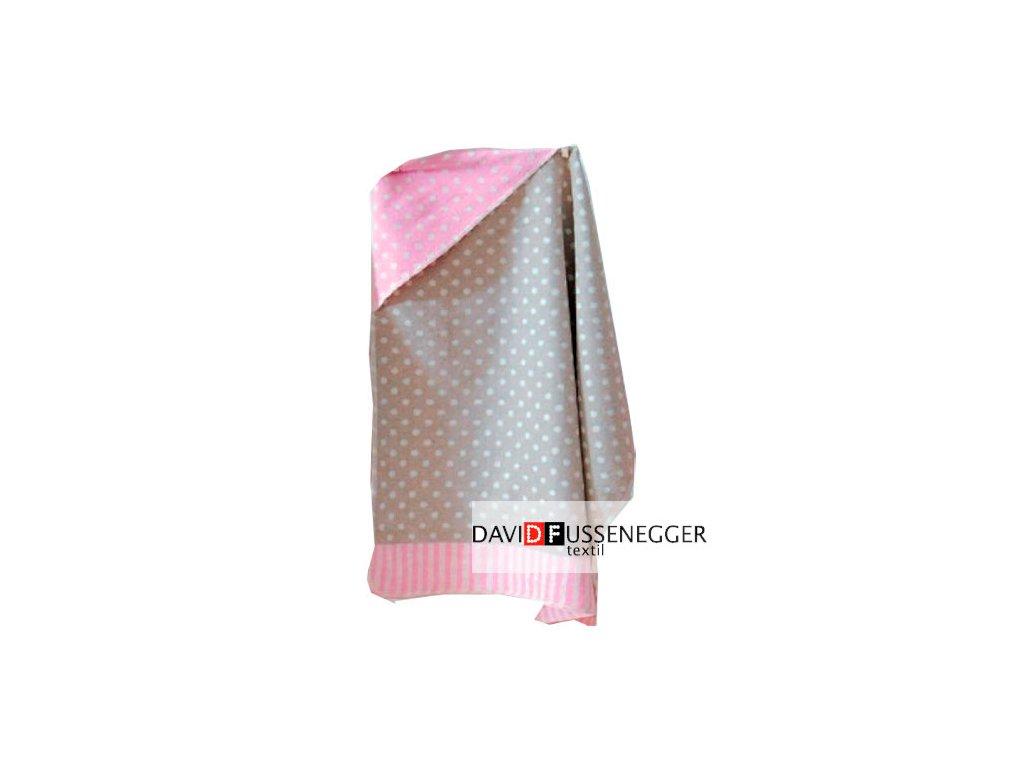 DF JUWEL bavlněná deka s kapucí 80x80 růžový puntík