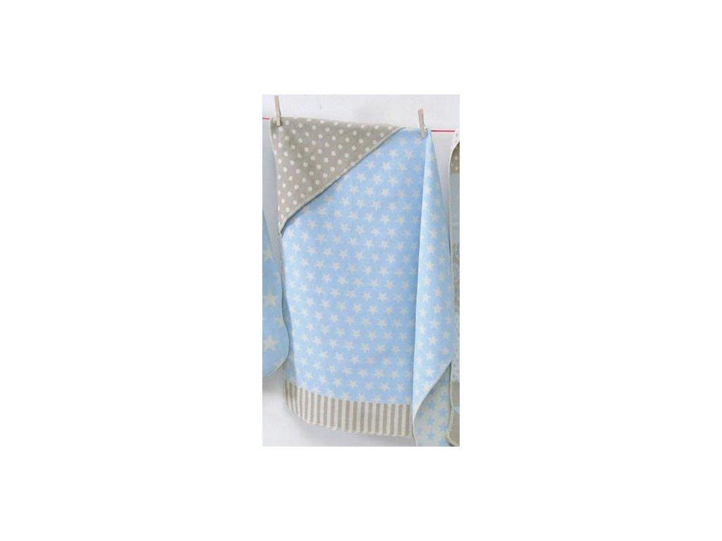 DF JUWEL bavlněná deka s kapucou 80x80 hvězdy modré
