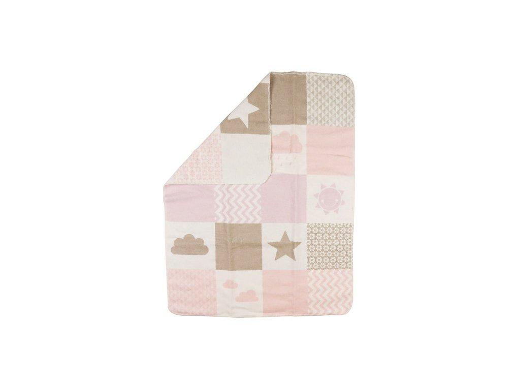 DF JUWEL bavlněná deka 70x90 obláčky růžová