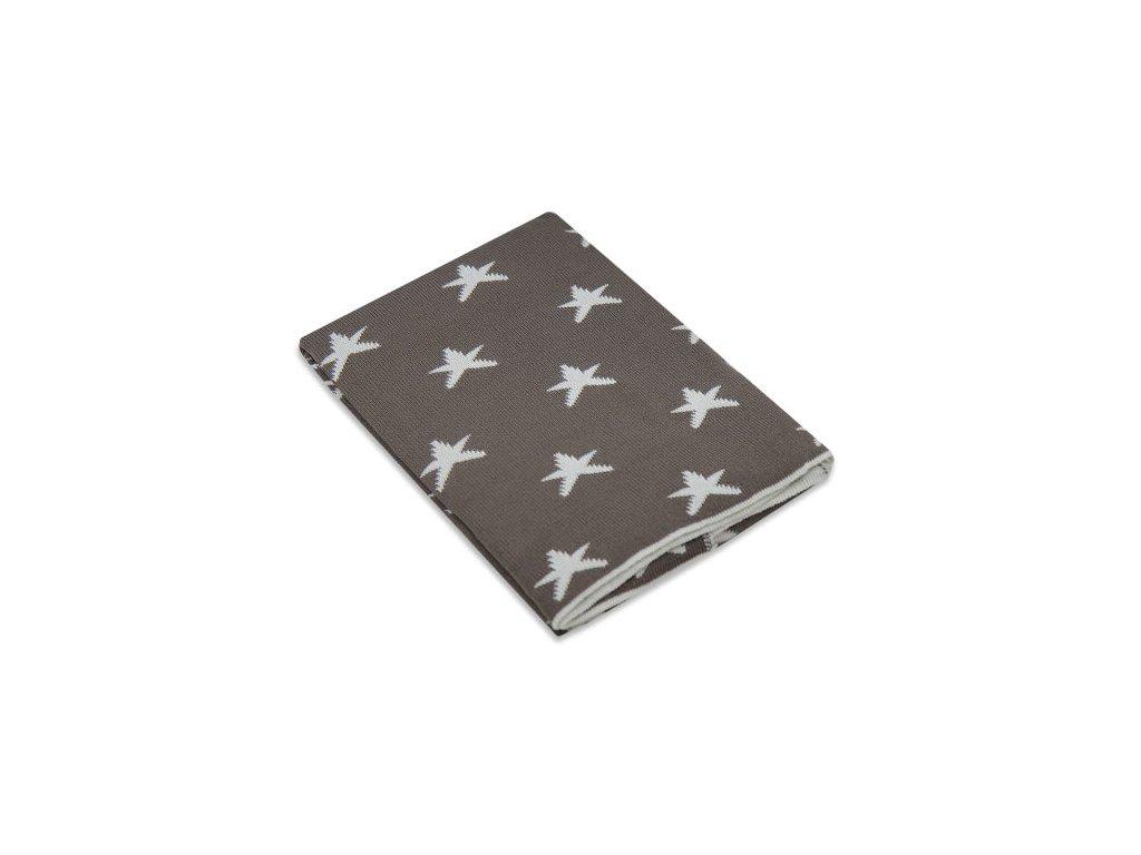 EKO pletená akrylová deka do kočárku hvězdy béžové Ple-35B