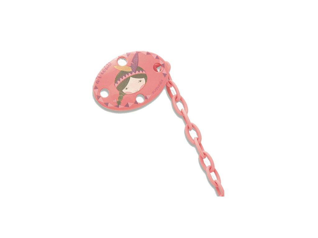 Suavinex řetízek na dudlík ovál indiánka růžová 3150731-5