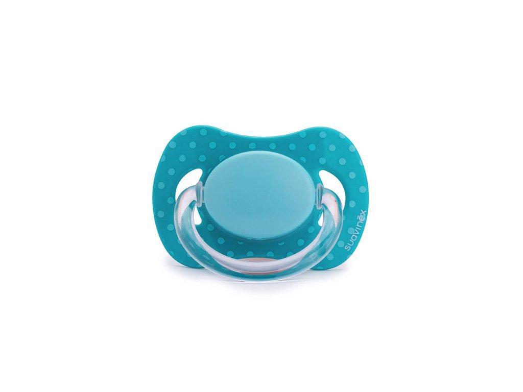 Suavinex dudlík fyziologické silikon 0 m+ modrý puntík