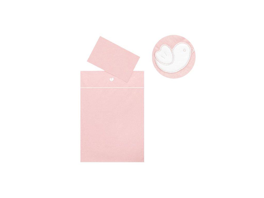 Babyrenka povlečení do postýlky dvoudílné 40x60, 90x130 cm, Bird pink