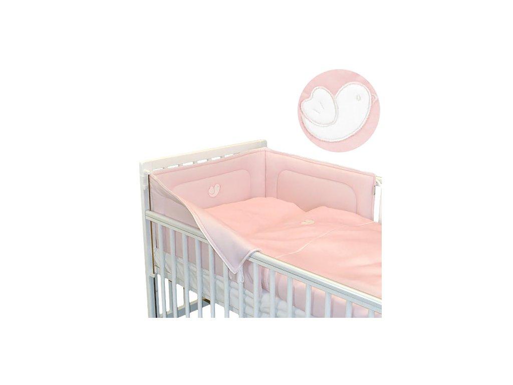 Babyrenka povlečení do postýlky třídílné 40x60, 90x130 cm Bird pink bílý lem