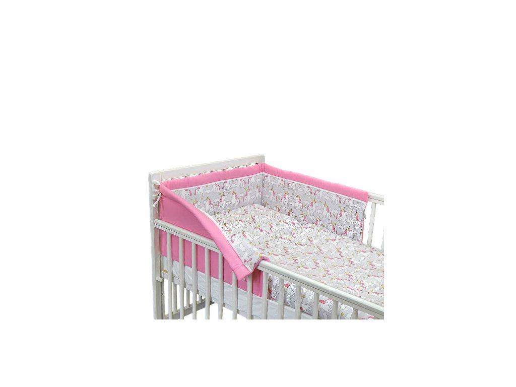 Babyrenka povlečení do postýlky třídílné 40x60,90x130 cm Unicorn šedo růžové