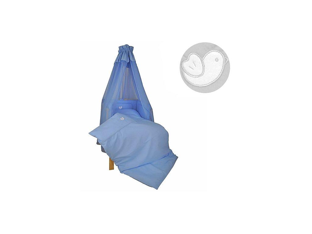 Babyrenka povlečení do postýlky čtyřdílná sada 40x60, 90x130 cm Bird sky blue