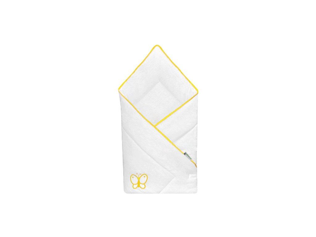 Babyrenka zavinovačka 80x80 Uni bílá výšivka yellow