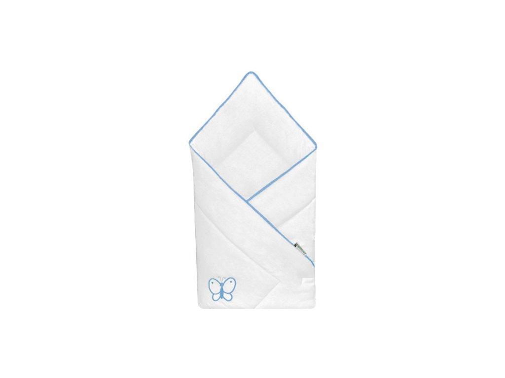 Babyrenka zavinovačka 80x80 Uni bílá výšivka blue