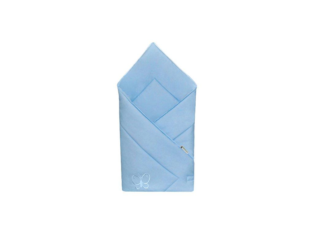 Babyrenka zavinovačka 80x80 Uni sky blue s výšivkou