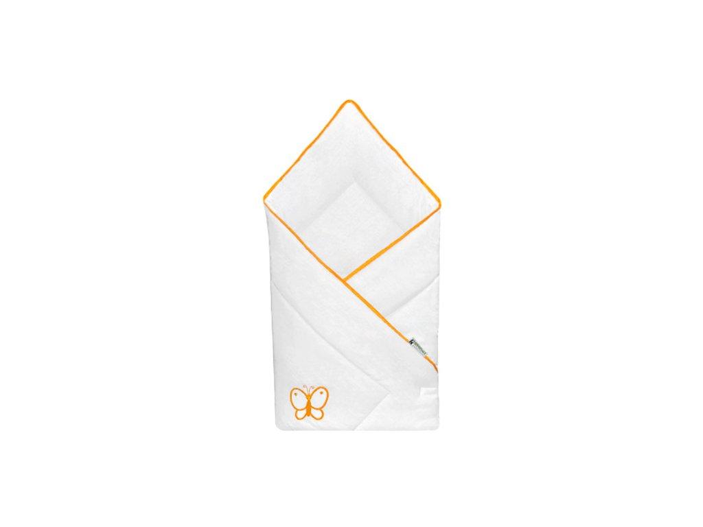 Babyrenka zavinovačka 80x80 Uni bílá výšivka orange