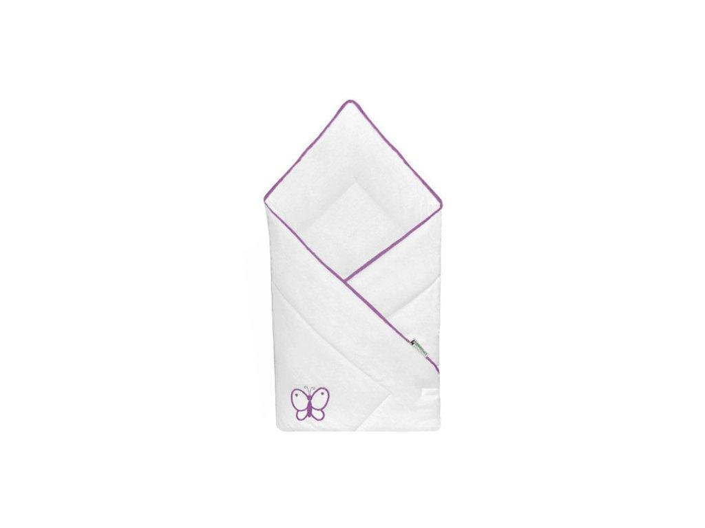 Babyrenka zavinovačka 80x80 Uni bílá výšivka violet