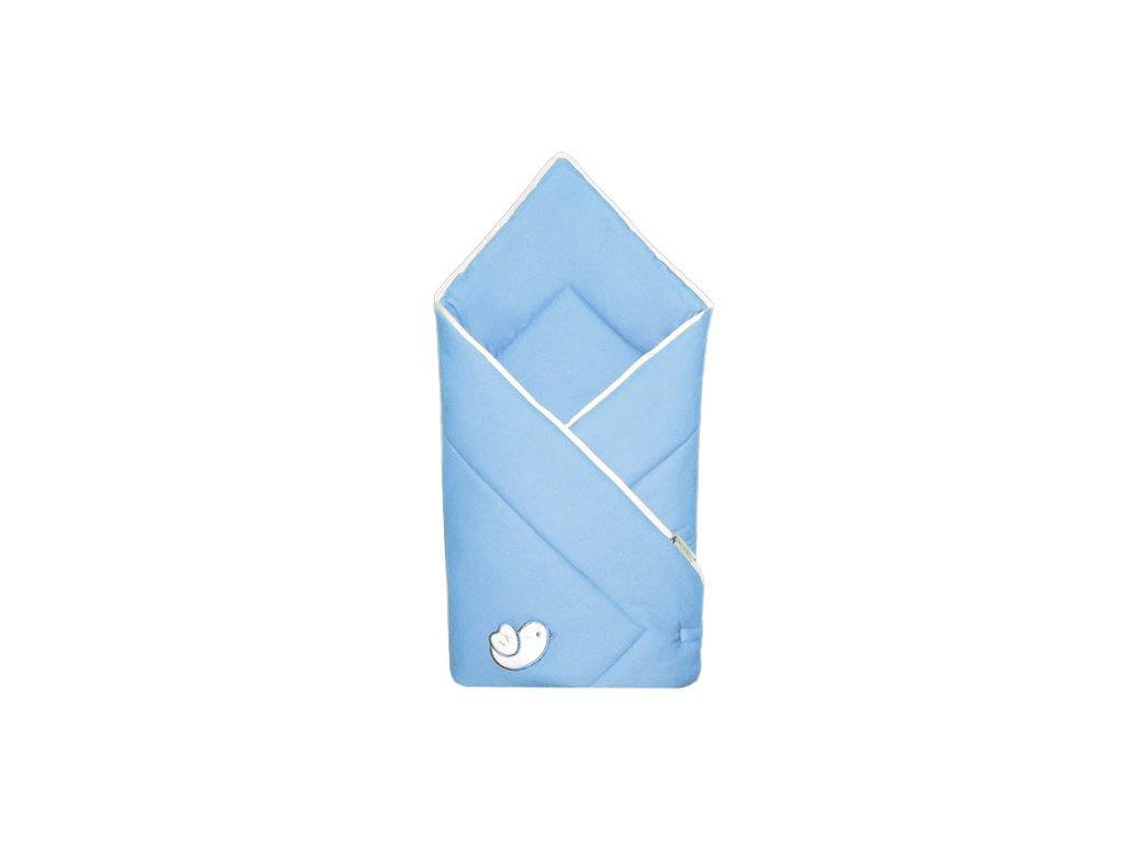 Babyrenka zavinovačka 80x80 Bird sky blue bílý lem