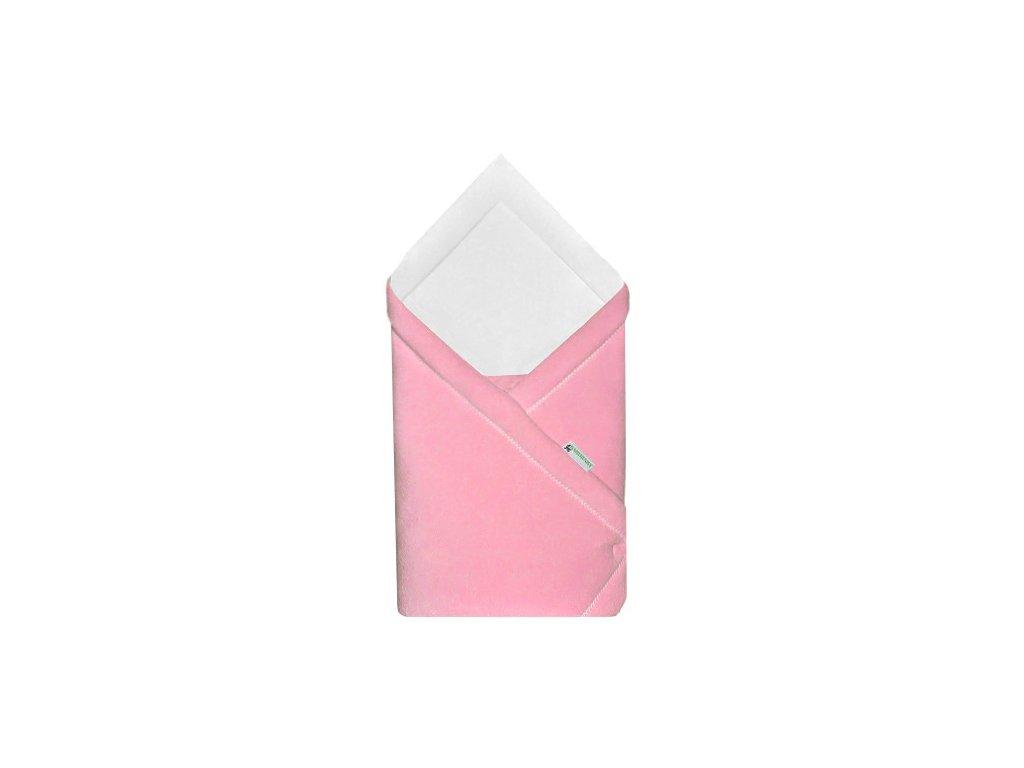 Babyrenka zavinovačka 75x75 Fleece úplet růžová bílá