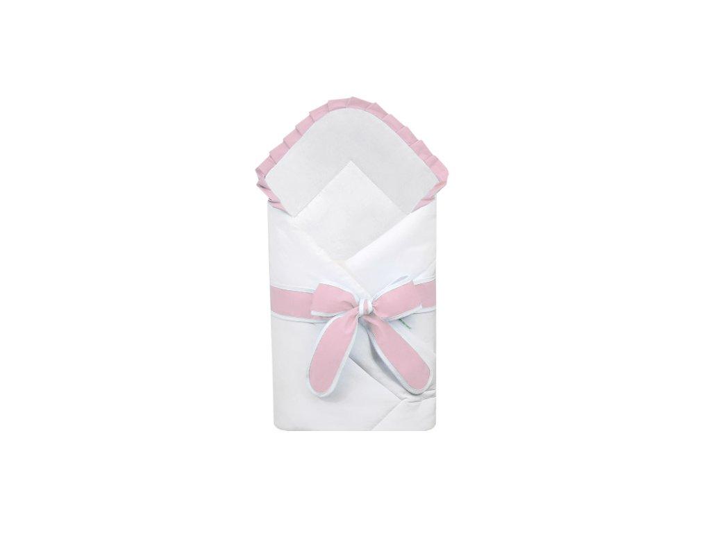 Babyrenka zavinovačka 80x80 cm Basic bílá s mašlí Uni pink