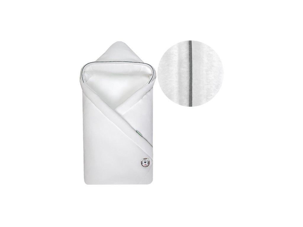 Babyrenka zavinovačka 85x85 s kapucí Fleece bílá lem šedý
