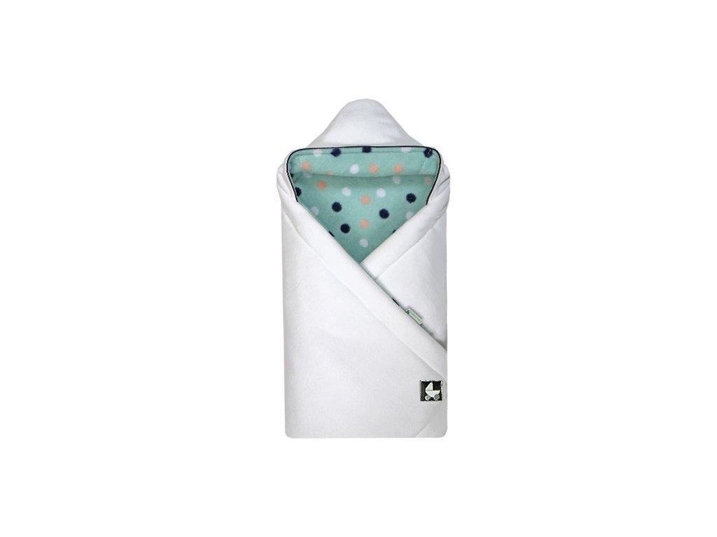 Babyrenka Zavinovačka 85x85 cm s kapucí Fleece Blobs bílá