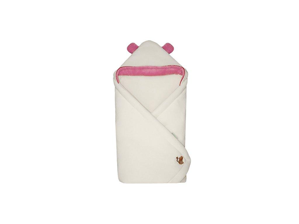 Babyrenka zavinovačka 85 x 85 cm s kapucí Uši natur pink