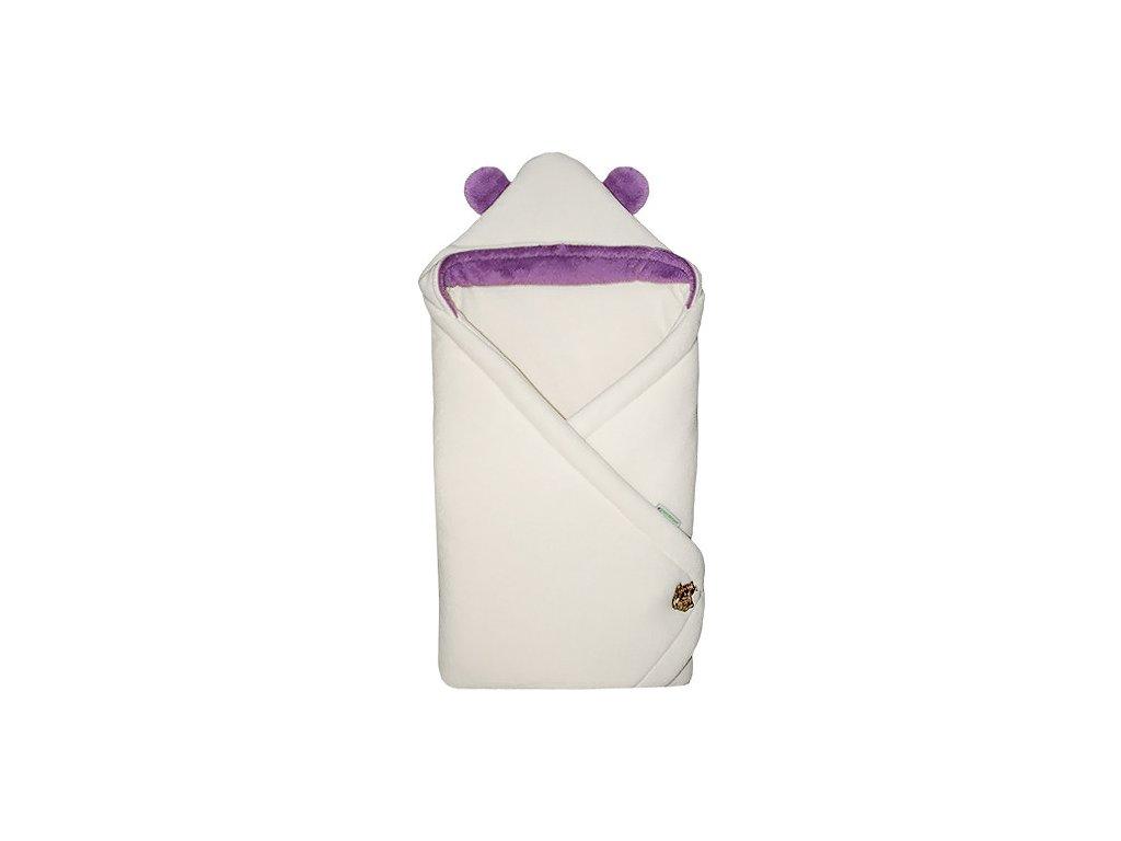 Babyrenka zavinovačka 85x85 cm s kapucí Uši natur violet