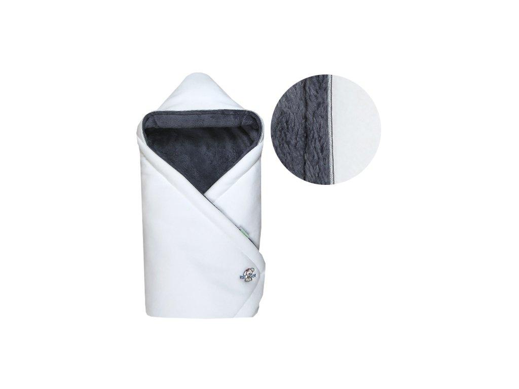 Babyrenka zavinovačka 85x85 s kapucí Polar bílá šedá
