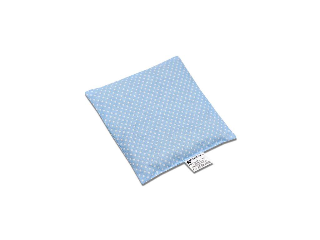 Babyrenka nahřívací polštářek 15x15 cm z třešňových pecek Dots blue