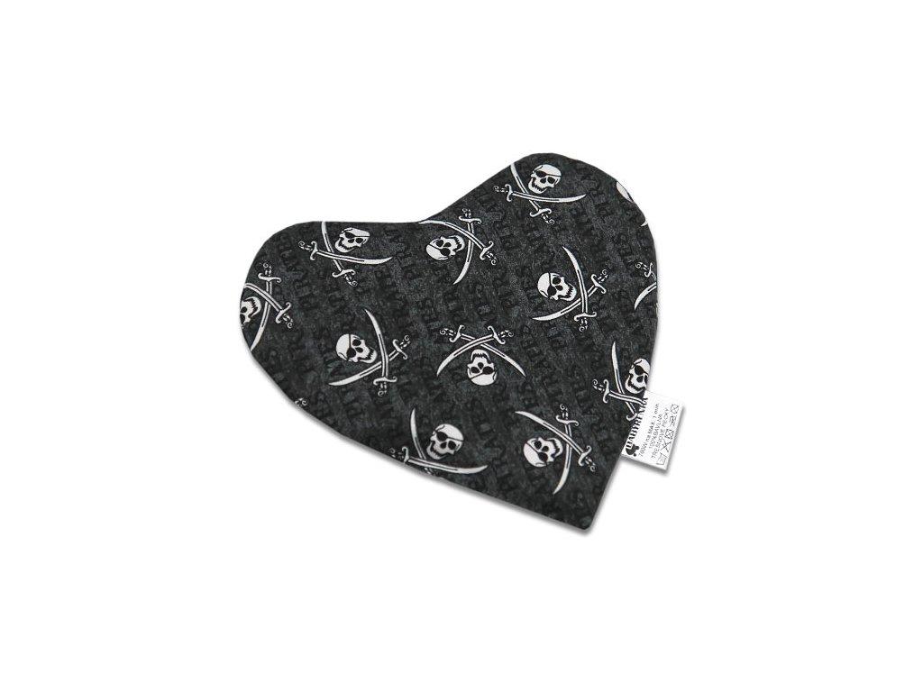 Babyrenka nahřívací polštářek 20x20 cm Srdíčko z třešňových pecek Piráti