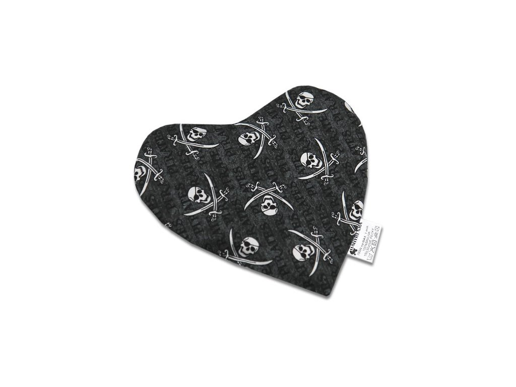 Babyrenka nahřívací polštářek 20x20 cm z třešňových pecek Srdíčko Piráti