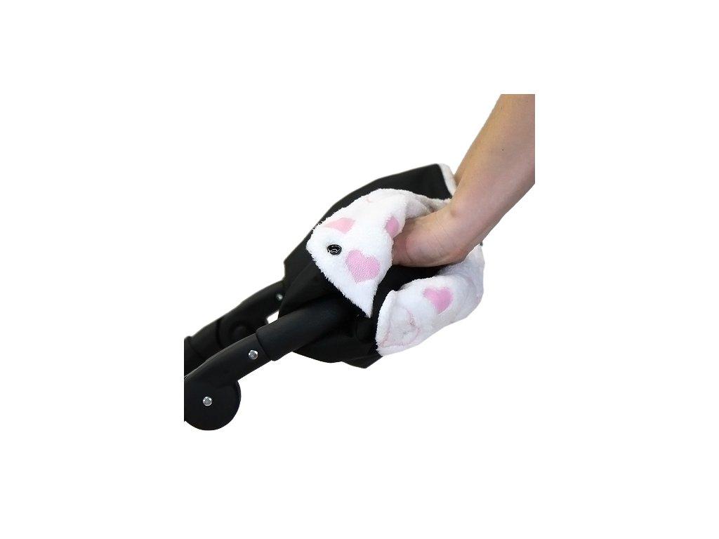 Babyrenka rukávník zateplení rukojeti Simple Polar černá Srdíčka