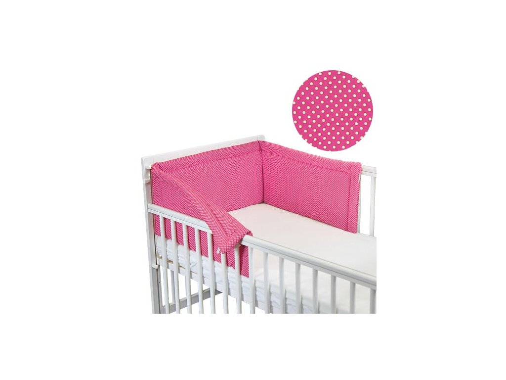 Babyrenka ochranný límec do postýlky 180 cm Basic Dots rose