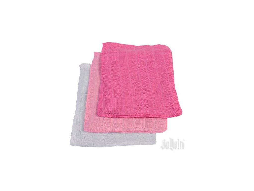 Jollein žínka bavlněná  3 ks Fuchsia Pink White