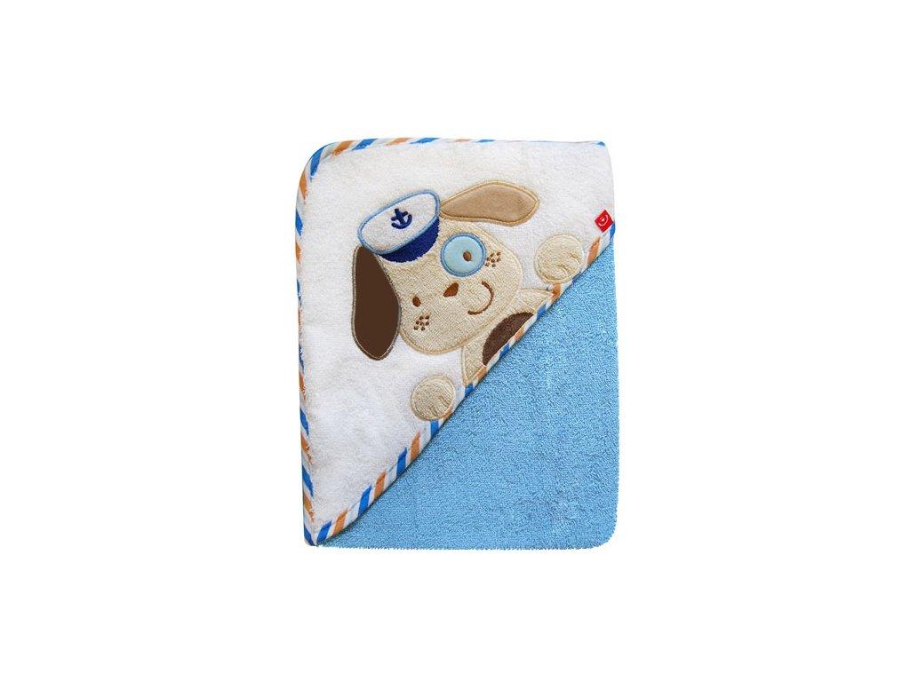 Bobobaby osuška s kapucí 76x76 cm Pes modrý
