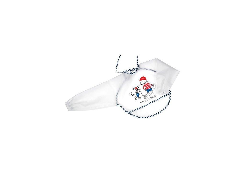 Fashy baby plastový bryndák s rukávem piráti