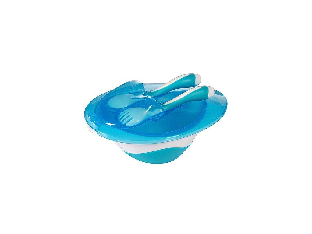 Baby Ono miska 200 ml oválná s víčkem a příborem modrá
