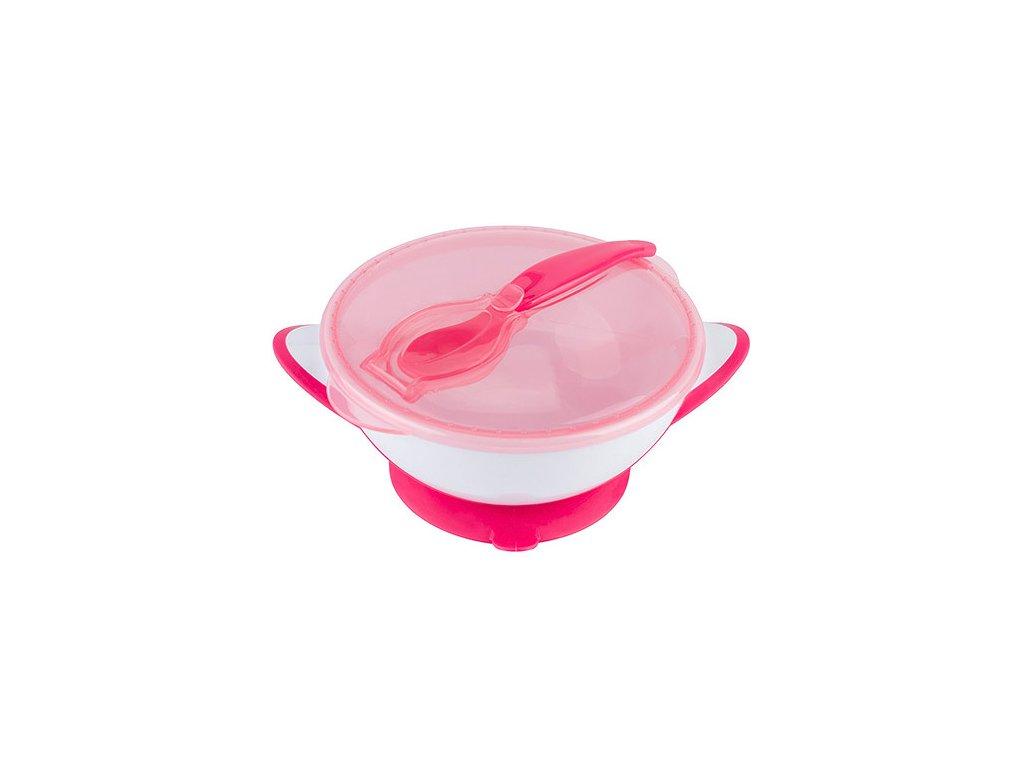 Baby Ono miska 300 ml s přísavkou a lžičkou růžová