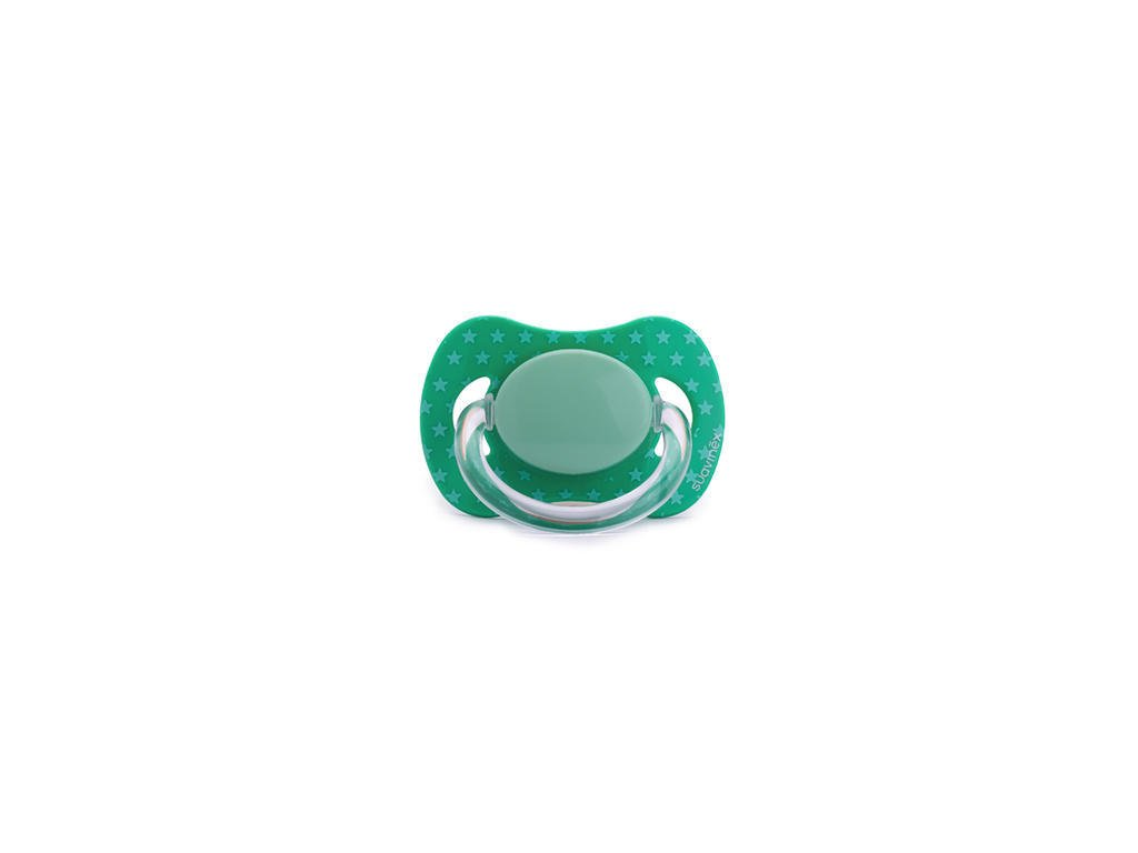 Suavinex dudlík silikonové fyziologické 0 m+ zelené hvězdičky
