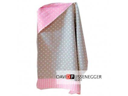 DF JUWEL bavlněná deka s kapucí 80x80 růžový puntík 9833