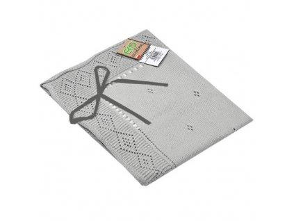 Eko bavlněná deka se stužkou šedá 70x80 cm PLE07S
