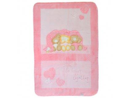Baby Perla španělská deka 543 plastický vzor růžová dek543/ruz