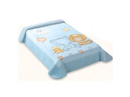 Baby Perla dětská deka 547 plastický vzor modrá dek547/mod