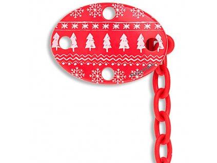 Suavinex klip na dudlík ovál vánoční červený