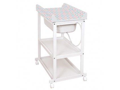 Ceba Baby přebalovací pult s vaničkou Laura Trojúhelníky rám bílý W-650-067-016