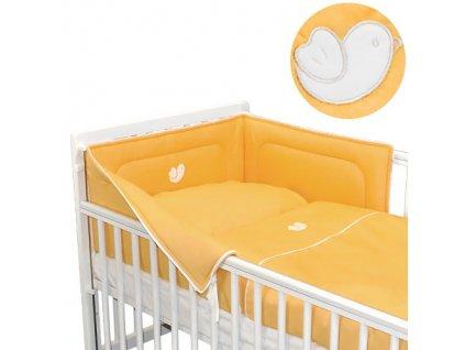 Babyrenka povlečení do postýlky třídílné 40x60,90x130 cm Bird orange bílý lem